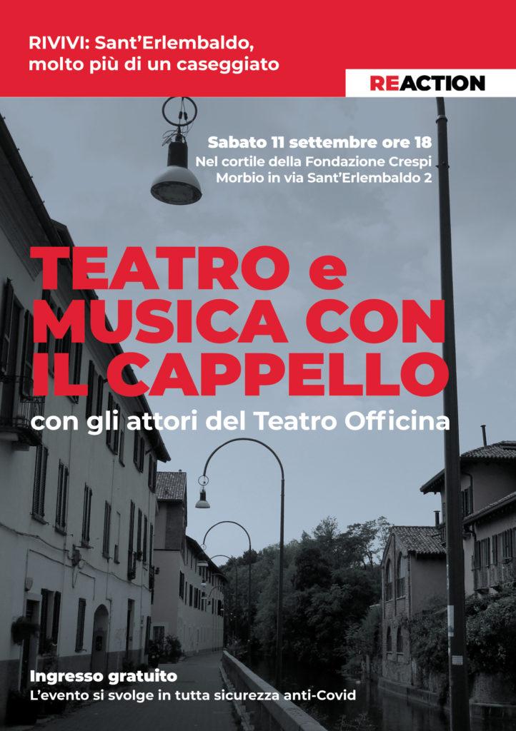 Progetto RIVIVI, Sant'Erlembaldo - Teatro con il cappello: sabato 11 settembre, spettacolo teatrale gratuito nei cortili della Fondazione Crespi.